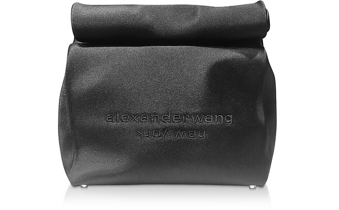 Alexander Wang Clutch Black Satin Lunch Bag Clutch w/Embroidered Logo