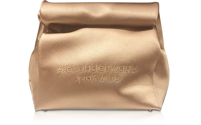 Alexander Wang Clutch Walnut Satin Lunch Bag Clutch w/Embroidered Logo