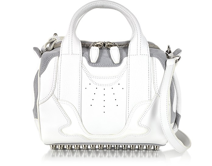 Sneaker Rockie Optic White and Light Concrete Satchel Bag w/Rhodium Studs - Alexander Wang