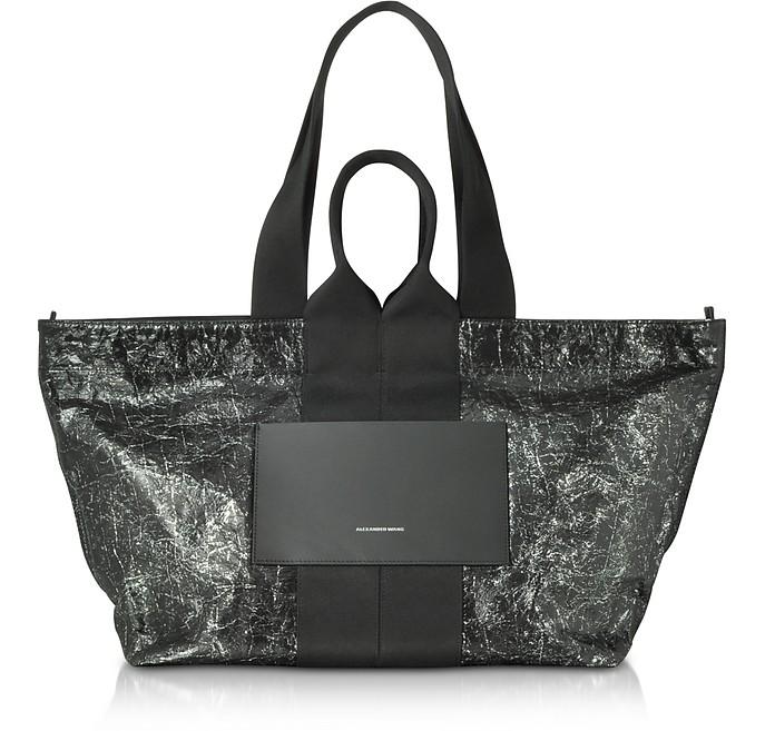Black Destroyed Leather AW Logo Large Tote Bag - Alexander Wang