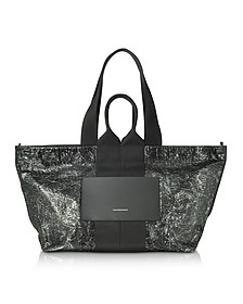 Black Destroyed Leather AW Logo Large Tote Bag - Alexander Wang