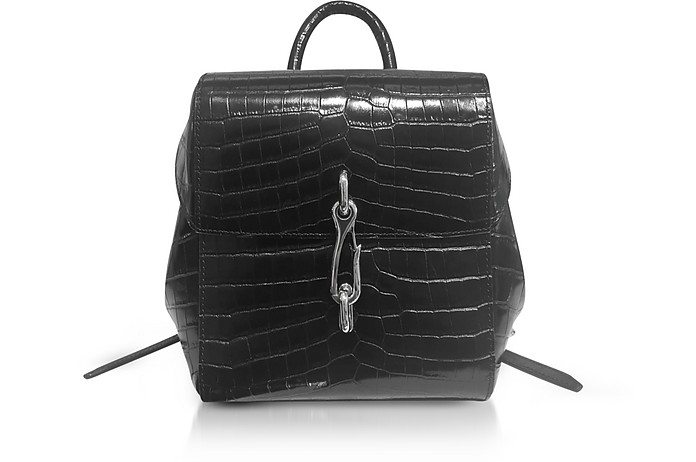 Hook Mini Croc Embossed Leather Backpack - Black