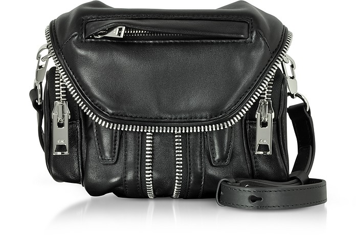 Black Nappa Leather Micro Marti Shoulder Bag