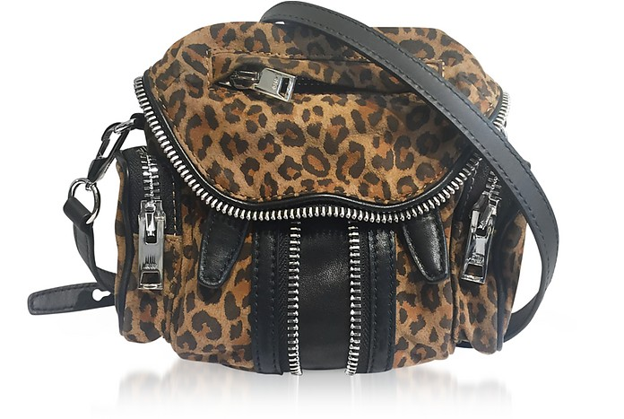 Leopard Printed Suede Micro Marti Shoulder Bag