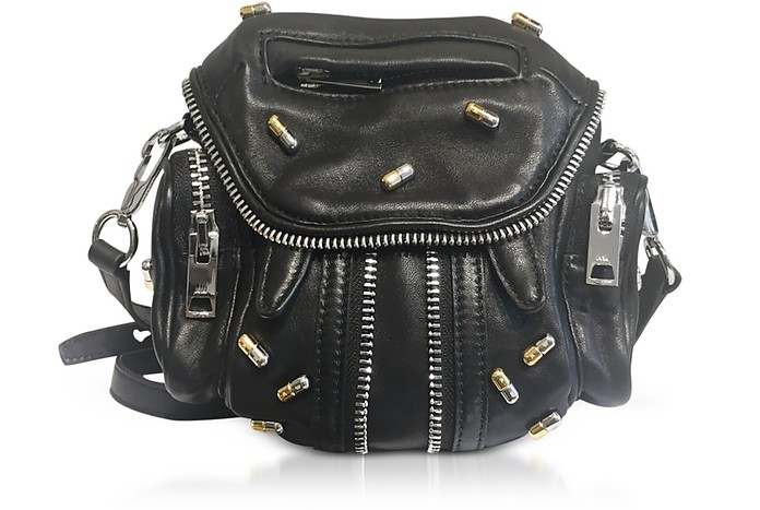 Black Nappa Leather Micro Marti Shoulder Bag W/Pill Studs