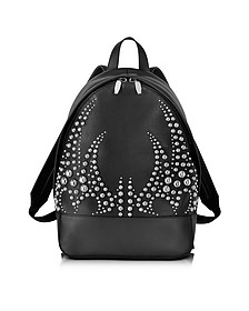 Runway Studded Black Leather Backpack W/Rhodium