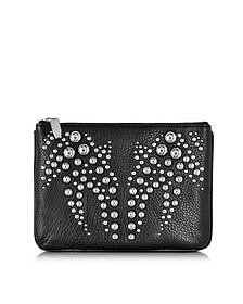 Black Studded Soft Pebbled Leather Flat Pouch
