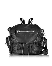Black Washed Leather Marti Backpack w/Silvertone Metal - Alexander Wang
