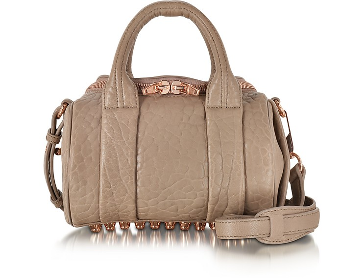 Mini Rockie Latte Pebbled Leather Satchel w/Rose Goldtone Metal - Alexander Wang
