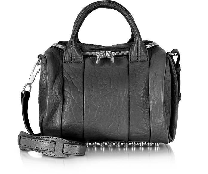 Rockie Black Pebble Leather Satchel Bag w/Rhodium Studs - Alexander Wang