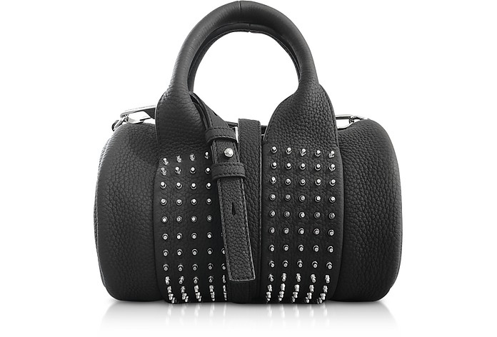 Black Matte Leather Studs Baby Rockie Satchel Bag - Alexander Wang