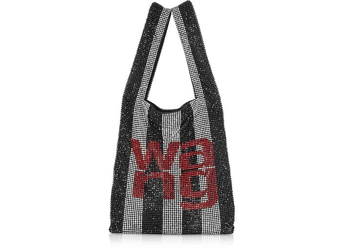Black/Crystal Striped Rhinestone Wanglock Mini Shopper - Alexander Wang