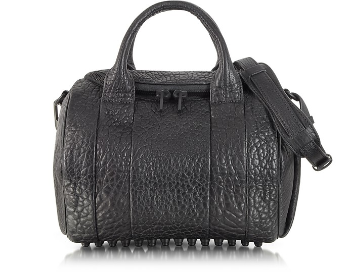 Rockie Black Pebbled Leather Satchel w/Matte Black Studs - Alexander Wang