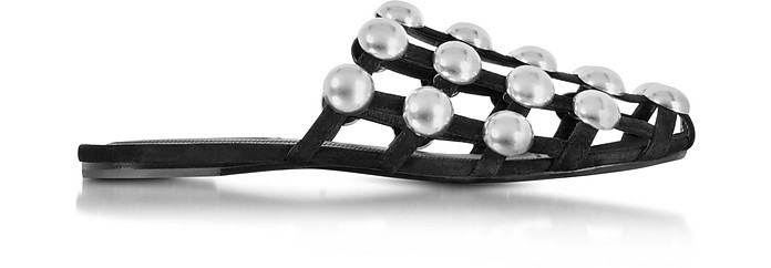 Amelia Jewel-Studded Leather Mule, Black