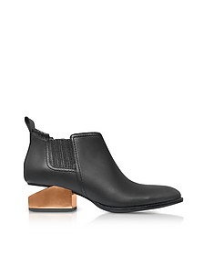 Kori Tumbled Black Leather Anke Boots w/Rosegold Metal Heel - Alexander Wang