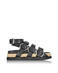Bess Black Leather Sandal w/Metal Rings - Alexander Wang