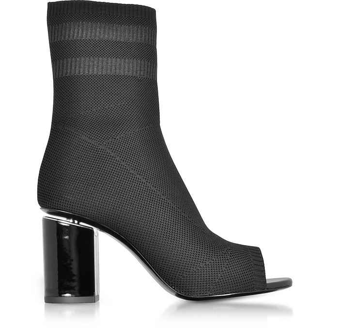 Cat Black Knit Boots w/Rhodium Heel - Alexander Wang