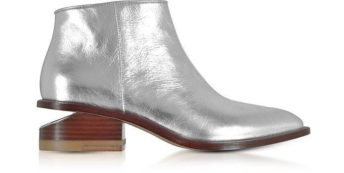 Kori Silver Metallic Leather Booties w/Rhodium Heel - Alexander Wang