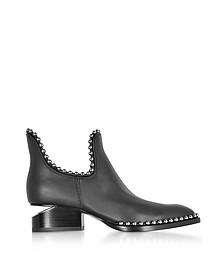 Kori Black Leather Cut Out Booties - Alexander Wang
