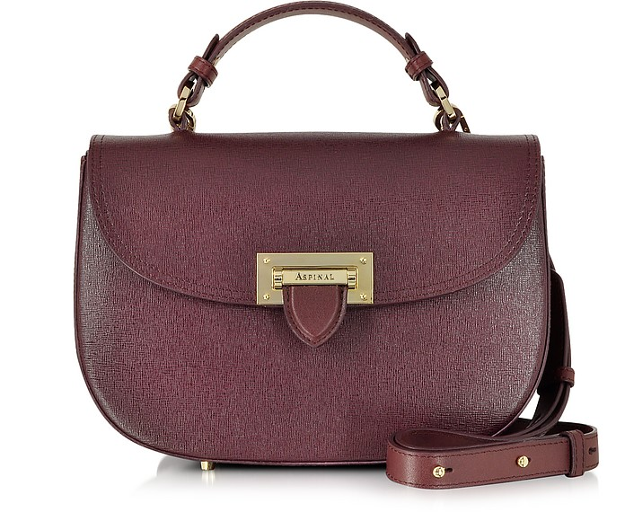 363a7df4c616 Aspinal of London Burgundy Saffiano Leather Letterbox Saddle Bag at ...