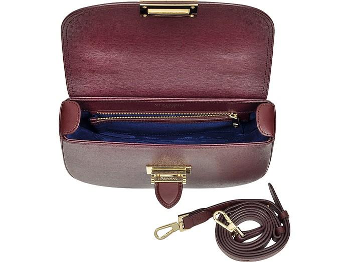 ae6aa278c84f Burgundy Saffiano Leather Letterbox Saddle Bag - Aspinal of London. €460