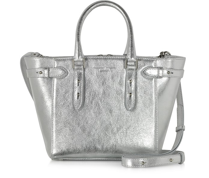 Marylebone Mini Silver Smooth Leather Tote - Aspinal of London