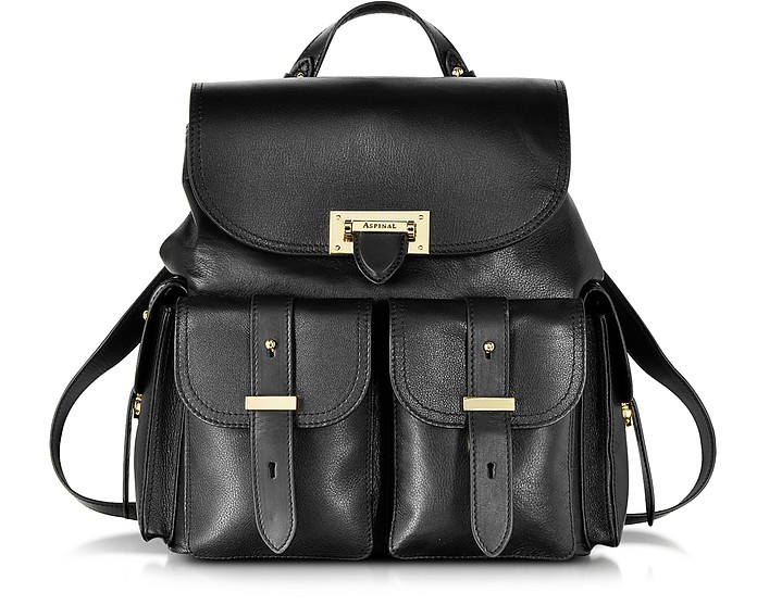Letterbox Black Smoooth Leather Rucksack - Aspinal of London