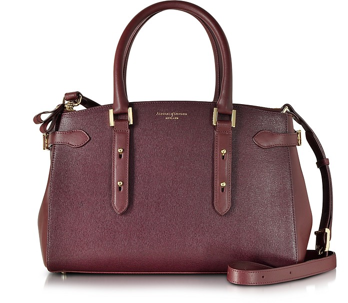 Brook Street Burgundy Smooth & Saffiano Leather Bag - Aspinal of London