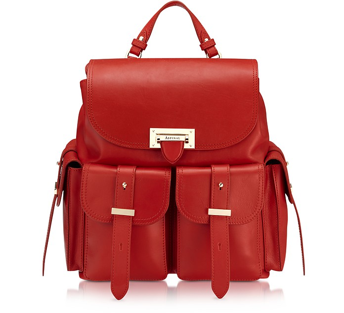 Smooth Berry Letterbox Rucksack - Aspinal of London