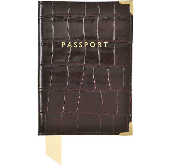 Amazon Brown Print Croco Leather Plain Passport Cover - Aspinal of London