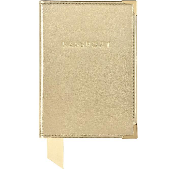 Metallic Leather Plain Passport Cover - Aspinal of London