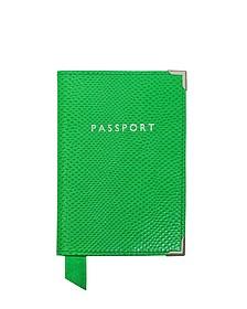 Grass Green Lizard Passport Cover  - Aspinal of London