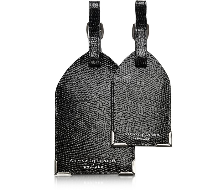 Set of 2 Lizard Embossed Leather Luggage Tags - Aspinal of London