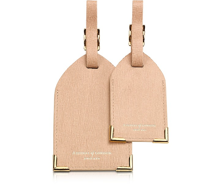 Set of 2 Deer Saffiano Leather Luggage Tags - Aspinal of London