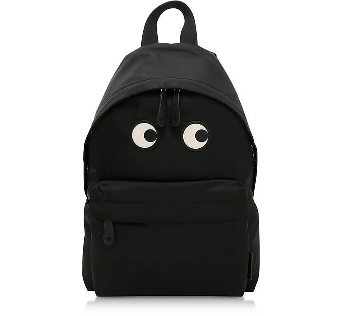 Large Black Nylon Eyes Backpack - Anya Hindmarch