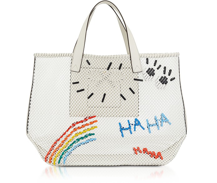 Chalk Weaving Mesh Rainbow N/S Weave Tote - Anya Hindmarch