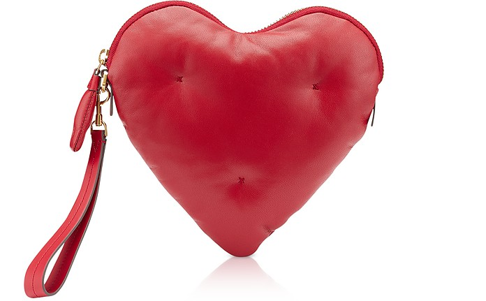 Red Nappa Leather Heart Chubby Clutch - Anya Hindmarch