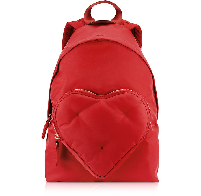 Red Nylon Chubby Heart Backpack  - Anya Hindmarch