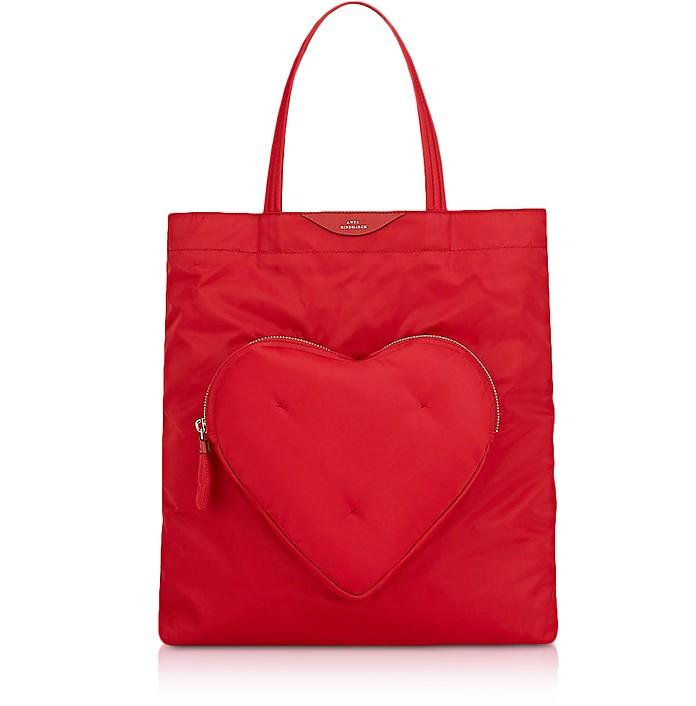 Red Nylon Chubby Heart Tote Bag  - Anya Hindmarch