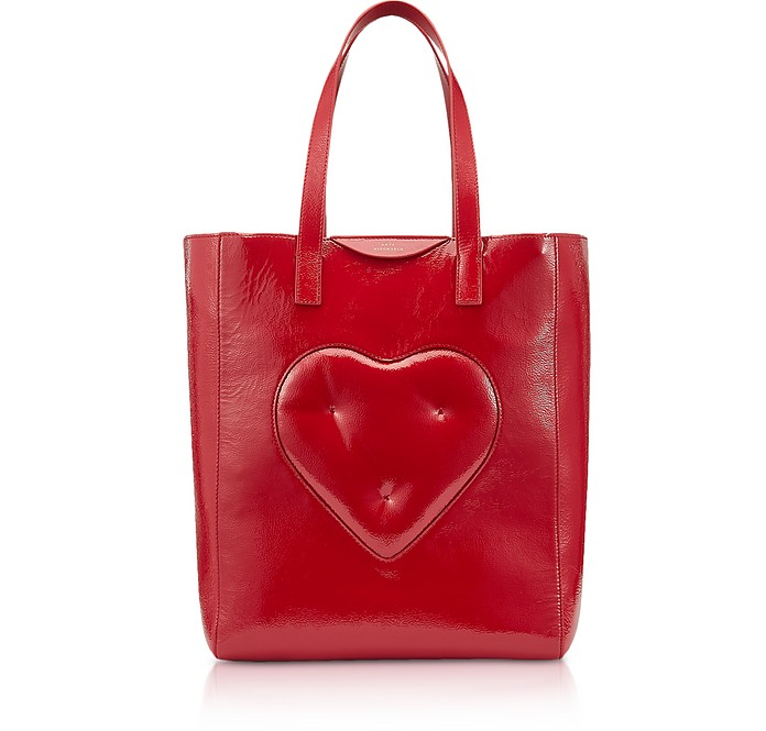 Dark Red Naplak Chubby Heart Tote Bag  - Anya Hindmarch