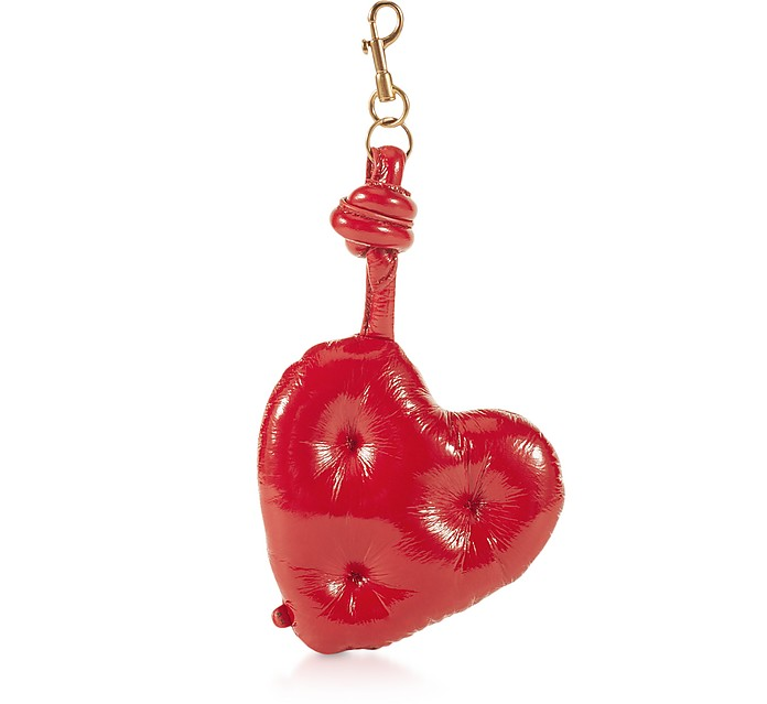 Dark Red Naplak Chubby Heart Charm - Anya Hindmarch