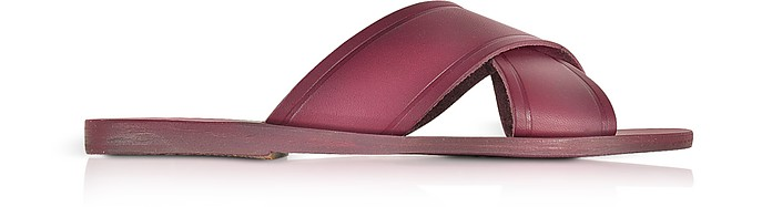 Thais Raspberry Leather Slide - Ancient Greek Sandals