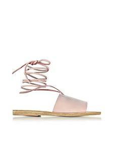 Christina Sandalo Flat in Nabuk Rosa Cipria - Ancient Greek Sandals