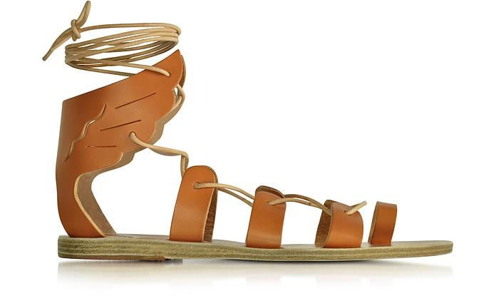 Fteroti Cognac Leather Flat Sandal - Ancient Greek Sandals