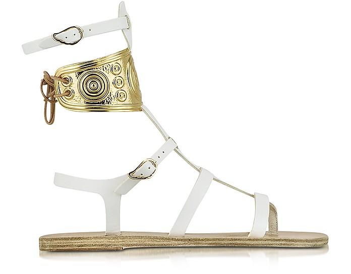 Ancient Greek Sandale mit LALAoUNIS aus weißem Leder - Ancient Greek Sandals