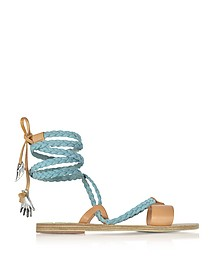 Lachesis Light Denim and Natural Leather Braided Sandals - Ancient Greek Sandals