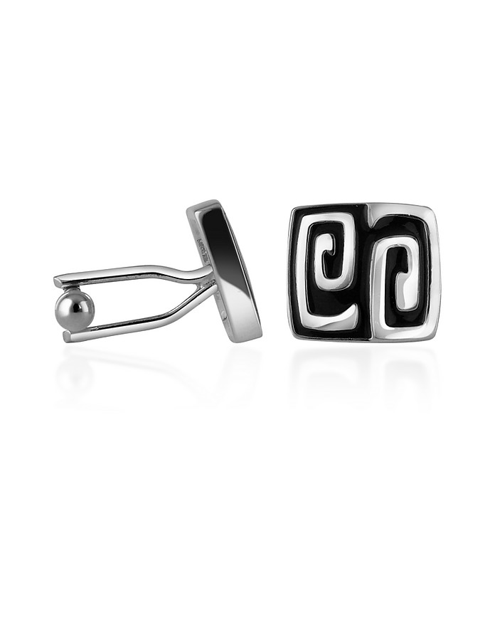 Silver Plated Square Deco Cufflinks - AZ Collection
