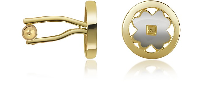 Four-Leaf Clover Gold Plated Cuff Links - AZ Collection