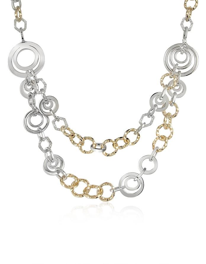 Halskette aus Ringen mit Swarovskisteinen besetzt - AZ Collection