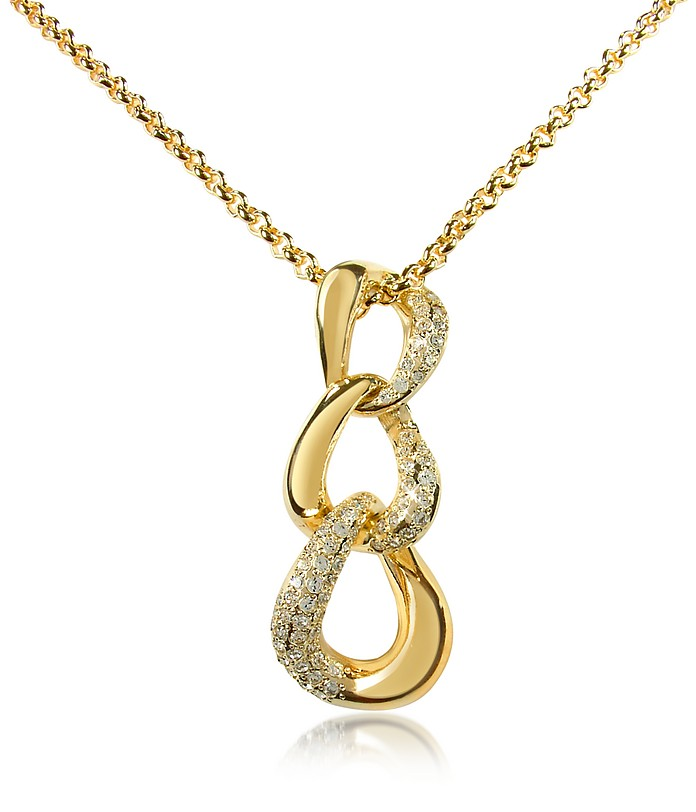 Vergoldete Halskette mit Anhänger und Swarovskisteinen - AZ Collection